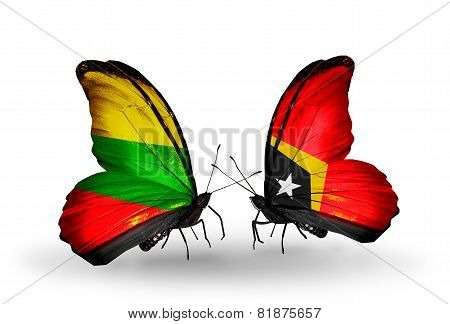 Two Butterflies With Flags On Wings As Symbol Of Relations Lithuania And East Timor