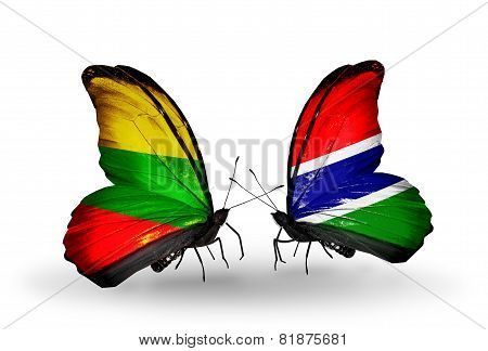 Two Butterflies With Flags On Wings As Symbol Of Relations Lithuania And Gambia