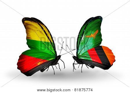 Two Butterflies With Flags On Wings As Symbol Of Relations Lithuania And Zambia