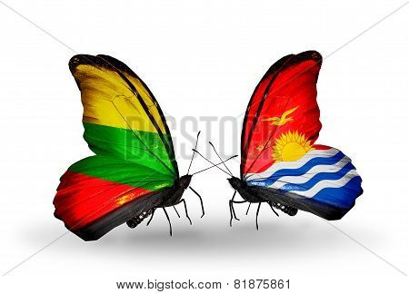 Two Butterflies With Flags On Wings As Symbol Of Relations Lithuania And Kiribati