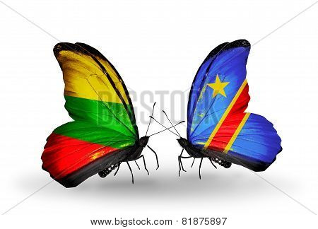 Two Butterflies With Flags On Wings As Symbol Of Relations Lithuania And Kongo