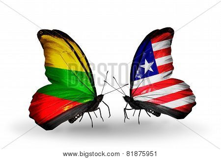 Two Butterflies With Flags On Wings As Symbol Of Relations Lithuania And  Liberia
