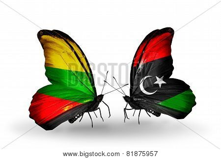 Two Butterflies With Flags On Wings As Symbol Of Relations Lithuania And Libya