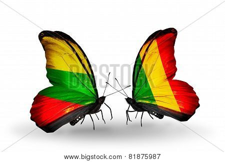 Two Butterflies With Flags On Wings As Symbol Of Relations Lithuania And Mali