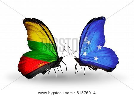 Two Butterflies With Flags On Wings As Symbol Of Relations Lithuania And Micronesia