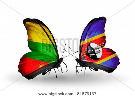 Two Butterflies With Flags On Wings As Symbol Of Relations Lithuania And Swaziland