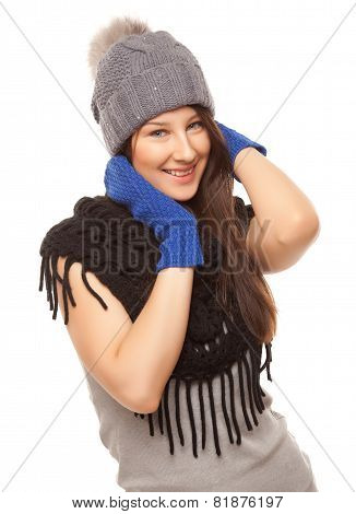 Picture Of Beautiful Woman In Black Scarf Smiling