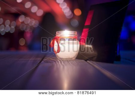 Candle in a restaurant