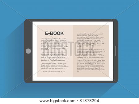 Electronic book, flat design concept