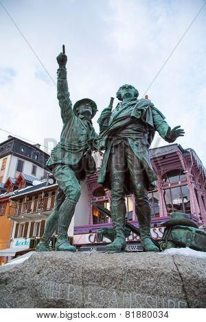 The statue of Balmat and Paccard, first ascent of Mont Blanc