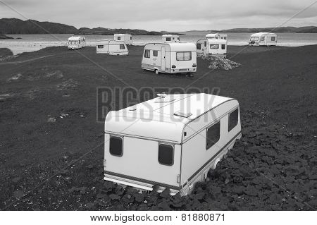 Camper Vans Parked On A Beach. Scotland. Uk
