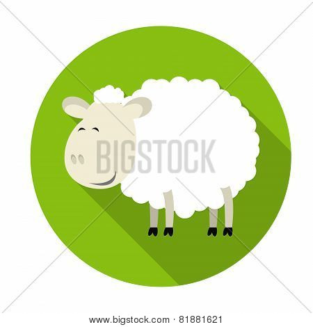 Sheep Icon With Long Shadow