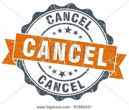 Cancel Orange Vintage Seal Isolated On White