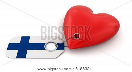 Heart with Finnish flag (clipping path included)