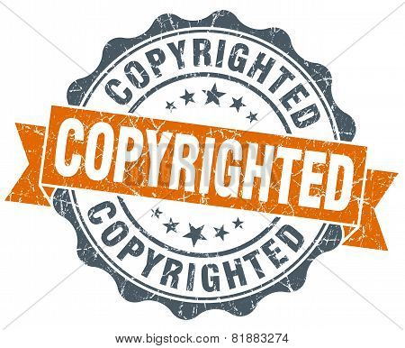 Copyrighted Orange Vintage Seal Isolated On White