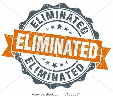 Eliminated Orange Vintage Seal Isolated On White