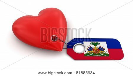 Heart with Haitian flag (clipping path included)