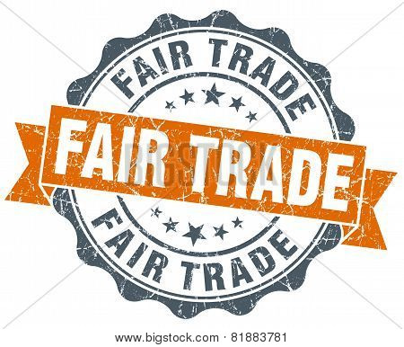 Fair Trade Orange Vintage Seal Isolated On White