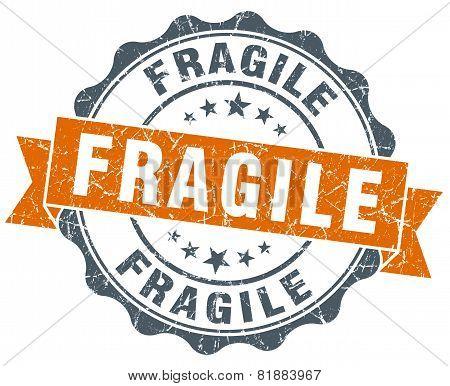 Fragile Orange Vintage Seal Isolated On White