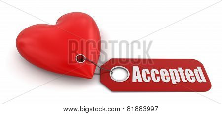 Heart with label accepted (clipping path included)