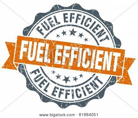 Fuel Efficient Orange Vintage Seal Isolated On White
