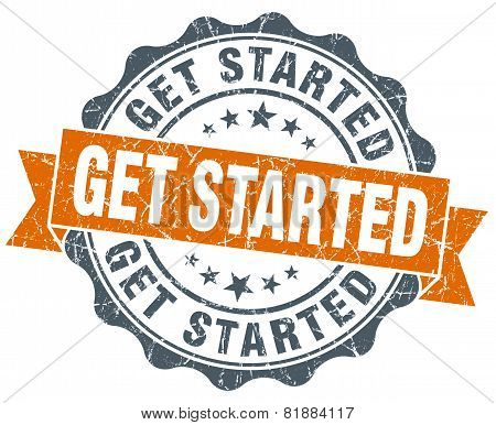 Get Started Orange Vintage Seal Isolated On White
