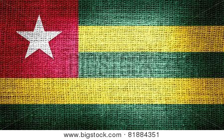 Togo flag on burlap fabric