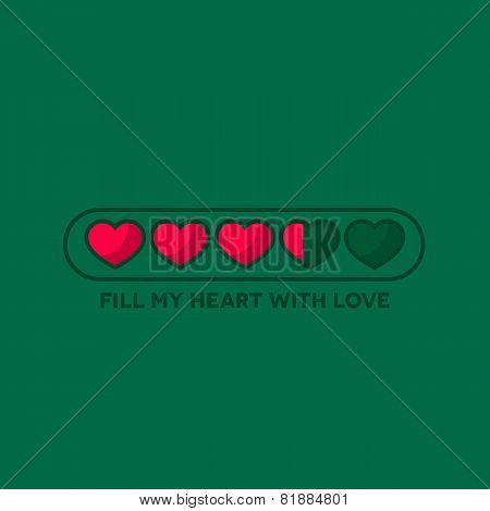 Valentine's Day status bar with flat hearts