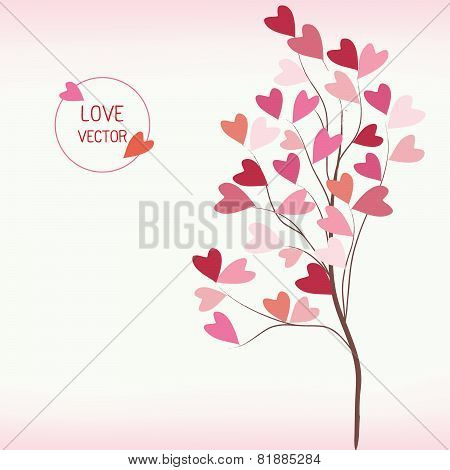 Tree Of Love With Hearts Style