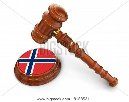 Wooden Mallet and Norwegian flag (clipping path included)