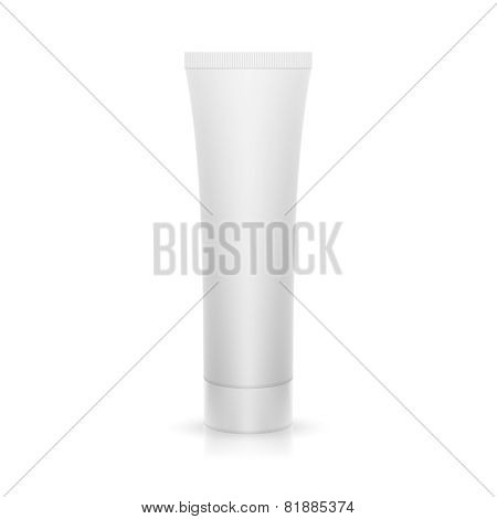 The plastic tube on glossy surface.