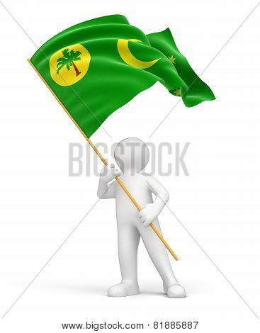 Man and Cocos Islands flag (clipping path included)
