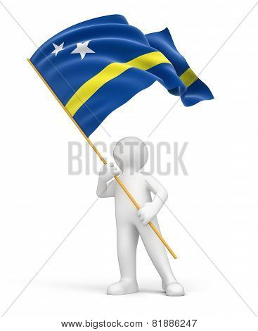 Man and Curacao flag (clipping path included)