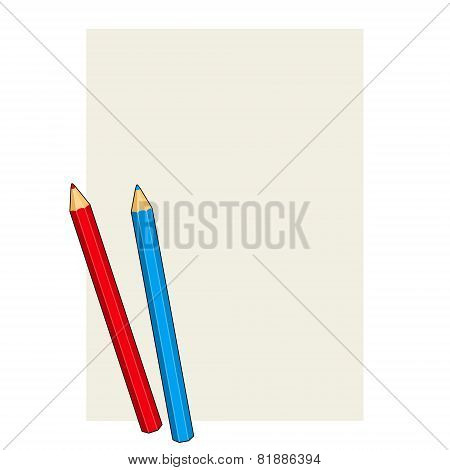 Two Colored Pencils on a Blank Paper. Vector