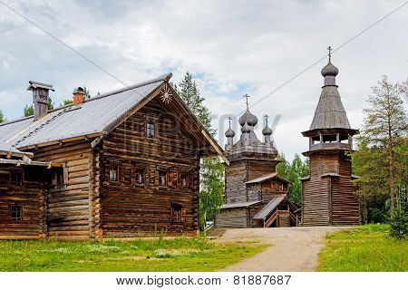 wooden church and house