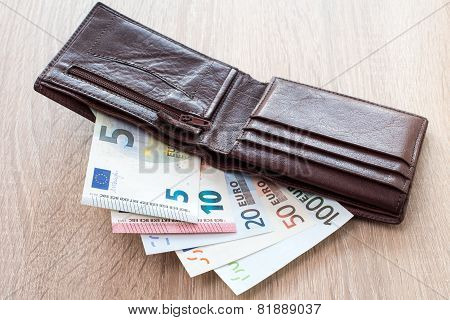 Open Wallet With Euro Banknotes
