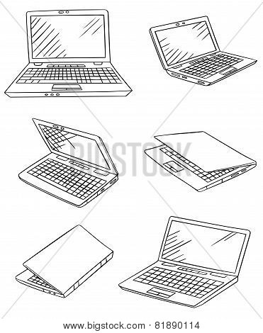 laptop drawings vector set