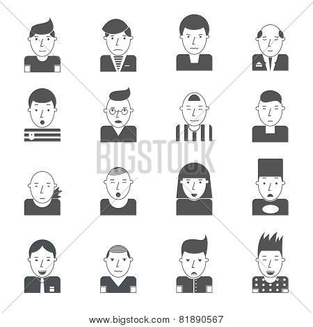 Man Faces Icons
