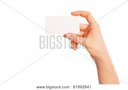 blank sheet of white paper in hand between fingers