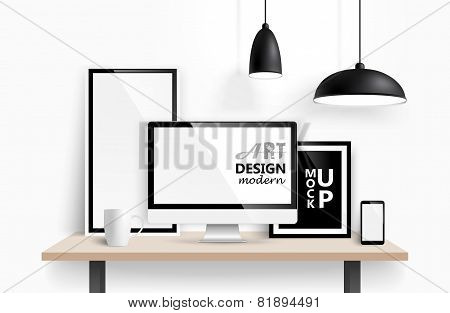 Modern workspace design. Vector