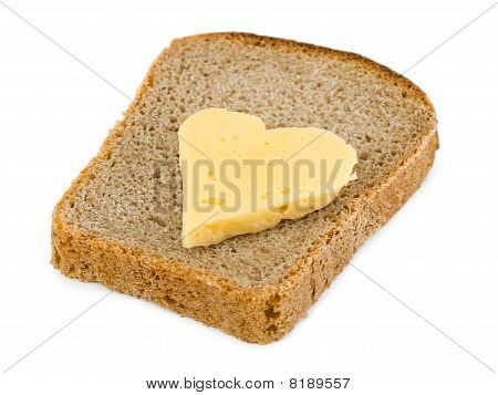 Bread And Heart Shaped Cheese