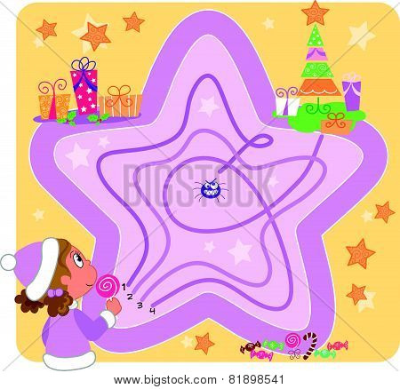 Cute star maze for children