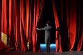 picture of curtains stage  - curtain in the theater with the actor on the stage