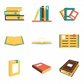 picture of isometric  - Flat isometric book icons symbols logos isolated set template web vector illustration - JPG