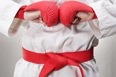 foto of martial arts girl  - Studio of the karate girl with gloves and the red belt - JPG