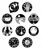 pic of clairvoyance  - Ten symbols showing different methods of clairvoyant psychic fortune telling in black - JPG