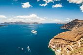 picture of greek-island  - Cruise liner near the Greek Islands - JPG