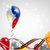 stock photo of twist  - The flag of the Philippines on balloon - JPG