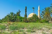 image of larnaca  - The Hala Sultan Tekke mosque is surrounded by the green garden Larnaca Cyprus - JPG