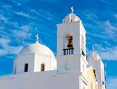 foto of blue-bell  - Traditional blue dome church in Santorini Greece - JPG